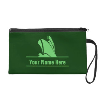 Cruise Ship in Greens Personalized Wristlet Purse