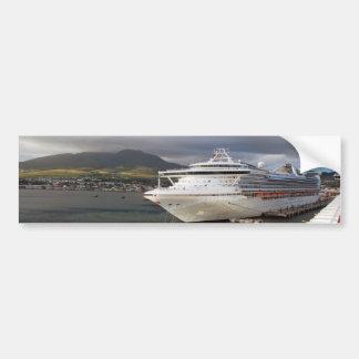 Cruise ship in port bumper sticker