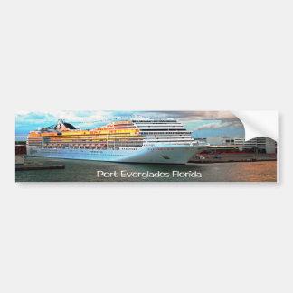Cruise ship in Port Everglades Bumper Sticker