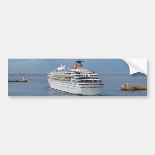 Cruise Ship Leaving Malta Bumper Stickers