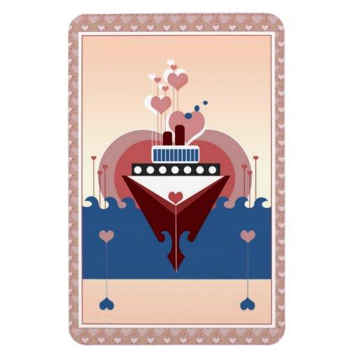 Cruise Ship Love Heart Flexi Magnet