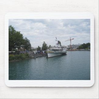 Cruise ship on Lake Thun berthed at Interlaken Mouse Pads