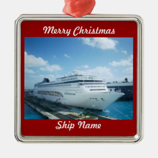 Cruise Ship Photo L1 Customizable Metal Ornament