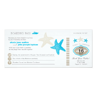 Cruise Ship Starfish Boarding Pass Wedding Card