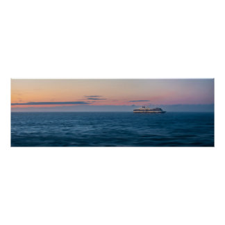 Cruise Ship under an Alaskan Sunset Poster