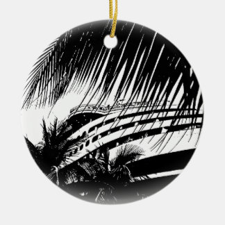Cruise Ship Vacation | Black and White Christmas Ceramic Ornament