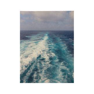 Cruise ship wake wood poster