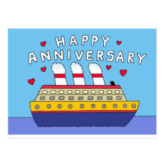 Cruise Ship Wedding Anniversary Postcard