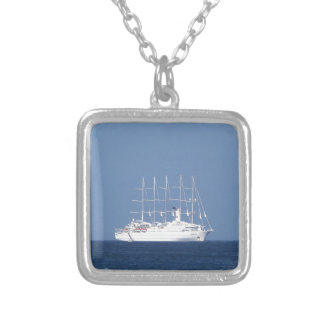 Cruise Ship With Sails Silver Plated Necklace
