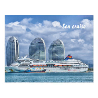 Cruise Ship with Skyscrapers on background Postcard
