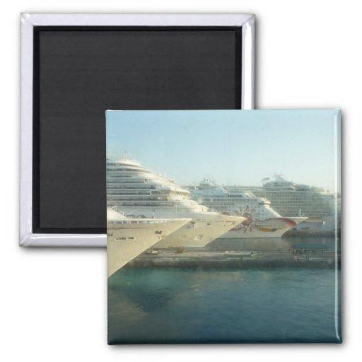 Cruise Ships at Sunrise Fridge Magnet