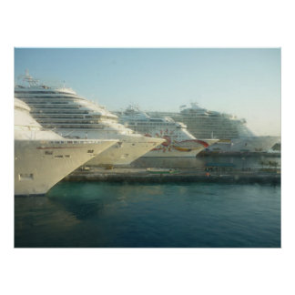 Cruise Ships at Sunrise Poster