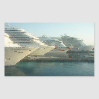 Cruise Ships at Sunrise Rectangular Sticker