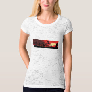 Cruiser Bicycle Sunset and Dog Women's T-Shirt