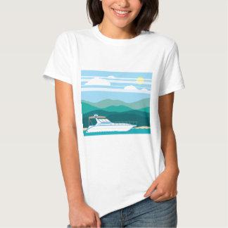 Cruiser Boat landscape shore T-shirts