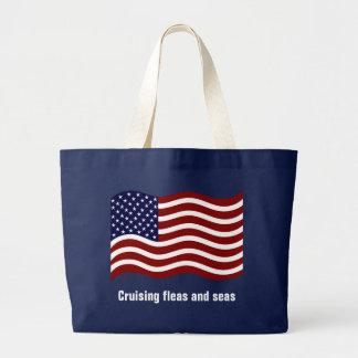 Cruising Fleas & Seas US Flag Large Tote Bag