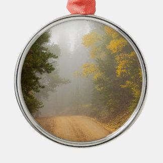 Cruising Into Autumn Fog Metal Ornament