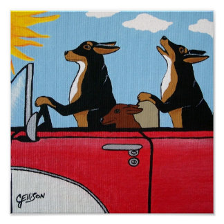 Cruising Joy Riding Hound Dogs Art Print