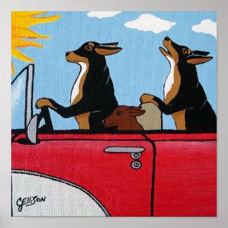 Cruising Joy Riding Hound Dogs Art Print