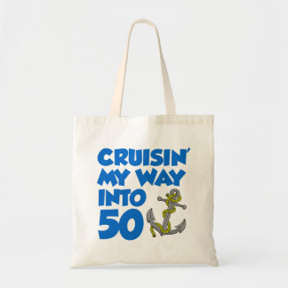 Cruising My Way Into 50 Cartoon Anchor Tote Bag