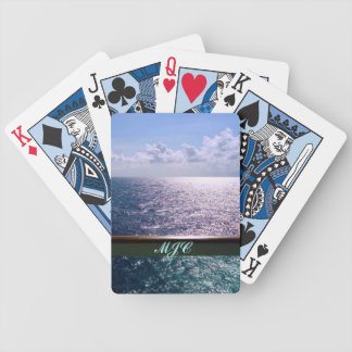 Cruising the Ocean Blue Monogrammed Bicycle Playing Cards