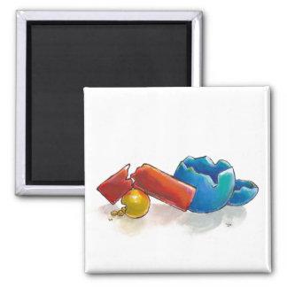 Crumbling, Snapped and Broken unique original art Fridge Magnets