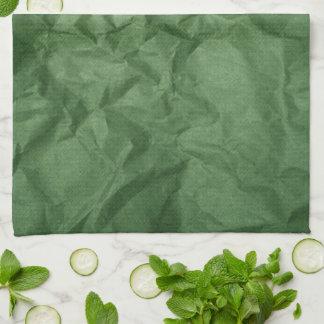 Crumpled Green Paper Texture Kitchen Towel