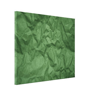 Crumpled Green Paper Texture Wrapped Canvas Canvas Print