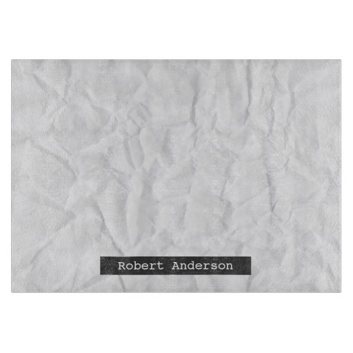 Crumpled white paper texture personalized name cutting board