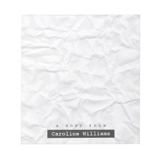 Crumpled white paper texture personalized name notepad