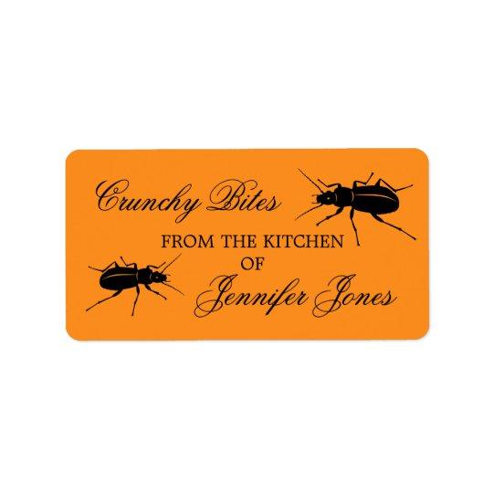Crunchy bugs beetle Halloween kitchen label