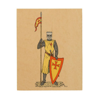 Crusader Knight, Early 13th Century Wood Wall Decor