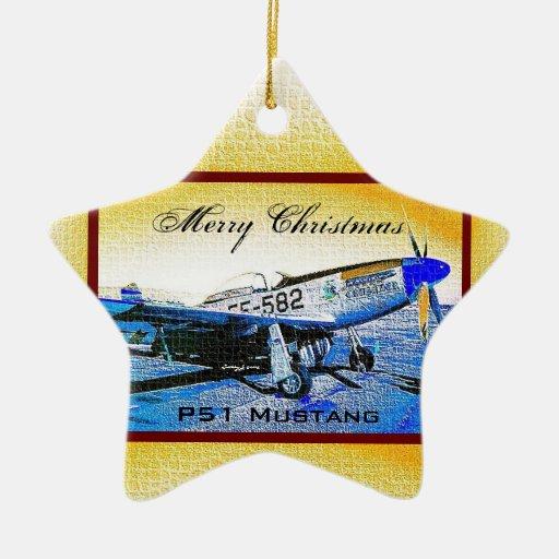 """""""Crusader"""" P51 Mustang © 2009 S.J. Christmas Ornaments"""