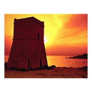 Crusader watch tower in sunset, Ghain Tuffieha Bay 21.5 Cm X 28 Cm Flyer
