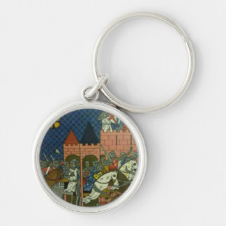 Crusaders Silver-Colored Round Key Ring