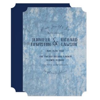 Crushed Blue Velvet Wedding Invitation