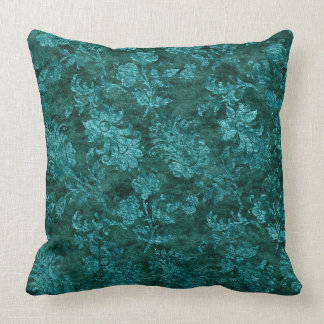 Crushed Velvet Floral Texture Teal Throw Pillow