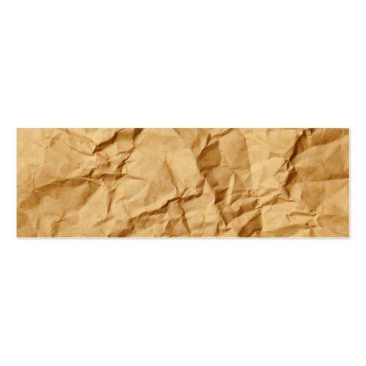 Crushed Wrinkled Brown Paper Grunge Background Business Card