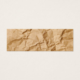 Crushed Wrinkled Brown Paper Grunge Background Mini Business Card