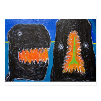 Crying and Biting (naive expressionism) Postcard