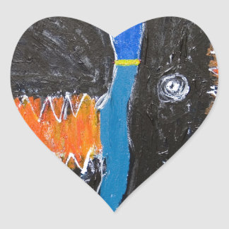 Crying and Biting naive expressionism Heart Sticker