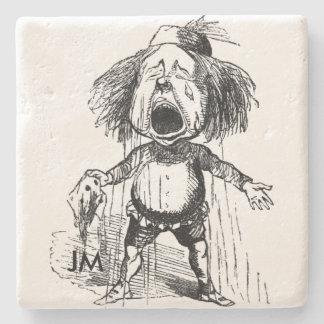 Crying Boy Cartoon Drawing Funny Black White Stone Coaster