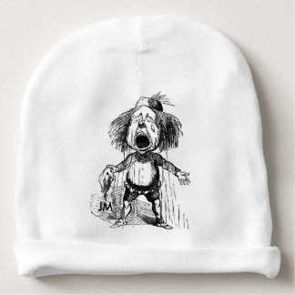 Crying Boy Funny Vintage Cartoon Drawing Baby Beanie