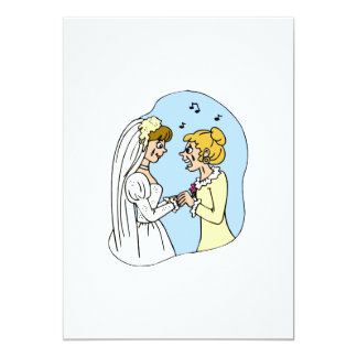 "Crying Brides Exchanging Vows 5"" X 7"" Invitation Card"