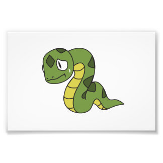 Crying Cute Green Snake Greeting Cards Mugs Pin Photographic Print