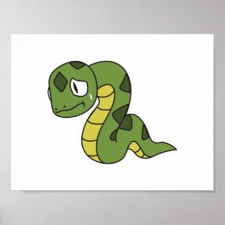 Crying Cute Green Snake Greeting Cards Mugs Pin Poster