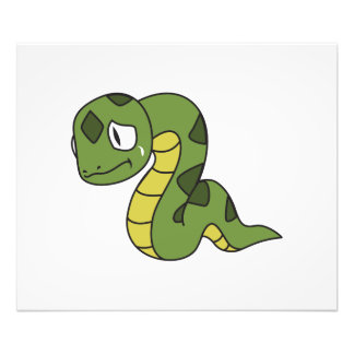 Crying Cute Green Snake Invitation Card Stamps Photo