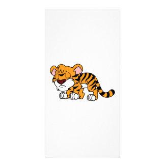 Crying Cute Orange Baby Tiger Cub Greeting Cards Custom Photo Card