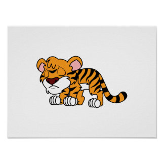 Crying Cute Orange Baby Tiger Cub Greeting Cards Posters