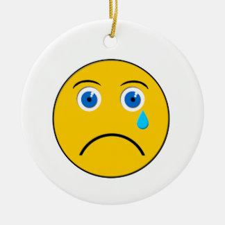 Crying Emoji Round Ornament